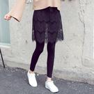 現貨 褲裙 蕾絲 鏤空 流蘇 下襬 假兩件 內搭褲 貼身 長褲 褲裙 M碼【YF76】 BOBI