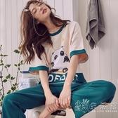 睡衣女夏季純棉短袖長褲學生可愛韓版情侶夏天家居服套裝春秋大碼 小时光生活館