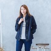 【Tiara Tiara】激安 排釦暖脖厚翻領縮袖大衣外套(藏青/卡其)