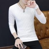 秋裝新款男士V領打底衫韓版修身白色毛衣秋季薄款青年針織衫潮流 【快速出貨】