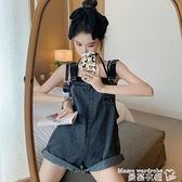 背帶短褲 牛仔背帶短褲女韓版寬鬆可愛日系小個子2021新款時尚一件式連衣褲【618 購物】