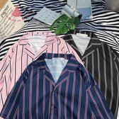 夏季條紋短袖襯衫男女寬松襯衣海邊旅游上衣 巴黎時尚生活