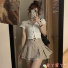 超短裙夏季超短裙2021新款時尚高腰A字半身裙女小個子設計感小眾百摺裙 愛丫
