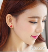 睡覺不用摘的紅色過年耳釘女2020新款潮氣質韓國網紅簡約時尚耳環XL2922【俏美人大呎碼】