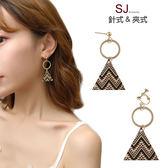 素簡手作《L206》韓國耳環不對稱垂墜耳環耳夾