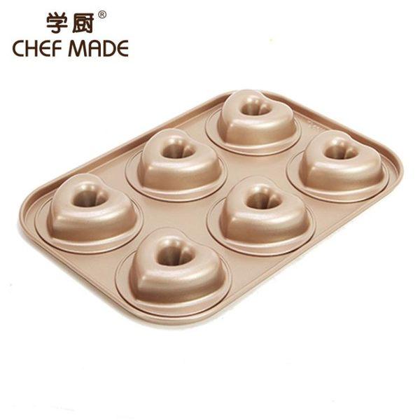 學廚6連愛心型甜甜圈蛋糕模具烘焙不粘烤盤烤箱用面包家用心形模【潮咖地帶】