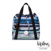 Kipling 蔚藍海岸線條塗鴉側背後背包-大-ART BACKPACK M