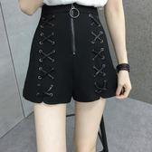 短褲 闊腿褲胖mm綁帶高腰顯瘦短褲休閒褲200斤 巴黎春天