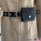 熱賣皮帶包 免打孔黑色女士皮帶掛包時髦百搭褲帶韓國裝飾細腰帶小腰包潮 coco