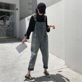 牛仔褲女春秋2019新款韓版復古寬鬆顯瘦背帶褲學生百搭連體九分褲