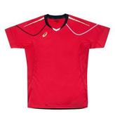 ASICS亞瑟士 男運動/排球短袖 機能T恤 吸濕排汗 透氣 XW6723-24(紅x金)[陽光樂活]
