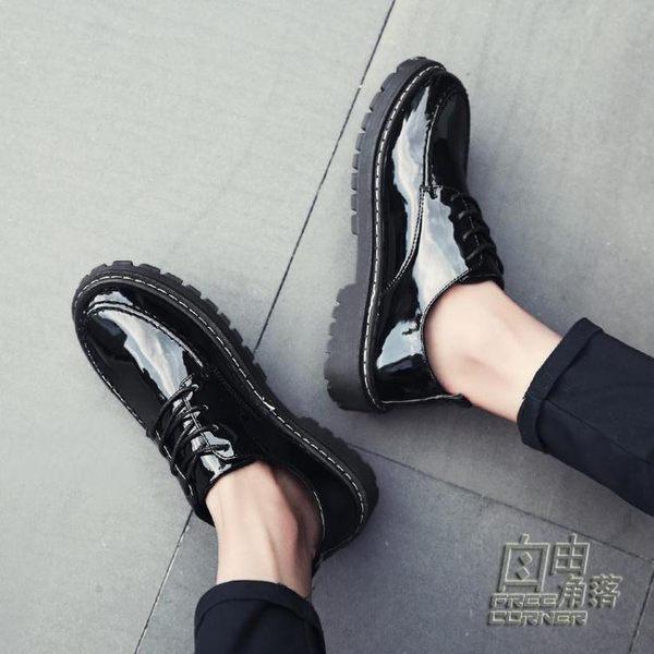 布洛克男鞋內增高8cm韓版英倫10cm夏季厚底圓頭鬆糕發型師小皮鞋 自由角落