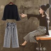 女童秋裝中大童韓版時髦套裝女孩洋氣休閒兩件套潮衣 町目家