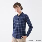 【GIORDANO】女裝四季百搭彈力牛津紡襯衫 - 21 海軍藍/白