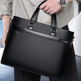 (交換禮物)加厚公文包男商務休閒手提包橫款男士包包單肩包軟皮電腦包斜跨包