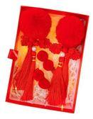 中國風兒童頭飾女童發飾套裝新年過年女寶寶發卡唐裝紅色毛球發夾