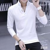 男士v領POLO衫 t恤男長袖立領棉質潮流韓版秋裝白色上衣服潮 BF21415『男神港灣』