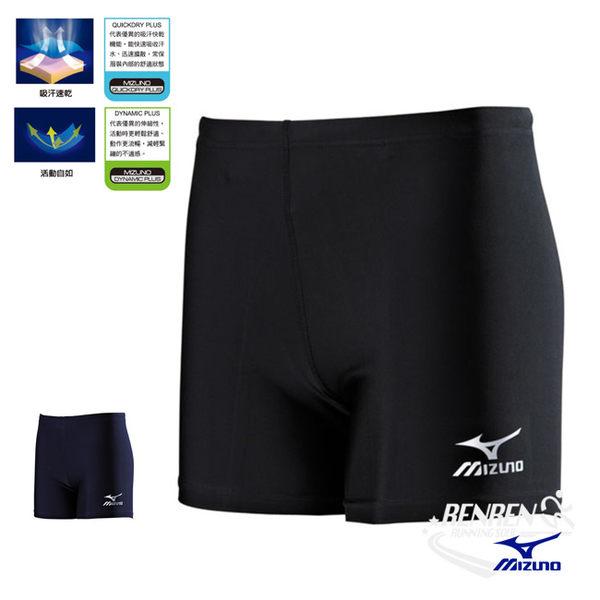 美津濃 MIZUNO 男女緊身褲 (黑) 素色男路跑短型緊身褲 U2TB7G0109【 胖媛的店 】