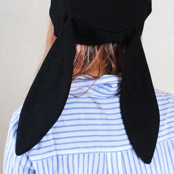 日系李白軟妹帽子兔耳貝雷帽女甜美可愛蓓蕾帽青年黑色畫家帽【慶新年全館免運】