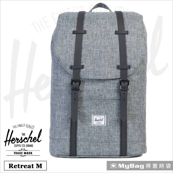 Herschel 後背包  灰色 13吋休閒電腦後背包 Retreat M-919  MyBag得意時袋