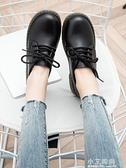 娃娃鞋 春秋英倫小皮鞋女學院風繫帶原宿大頭娃娃鞋復古日系低筒馬丁棉鞋【小艾新品】