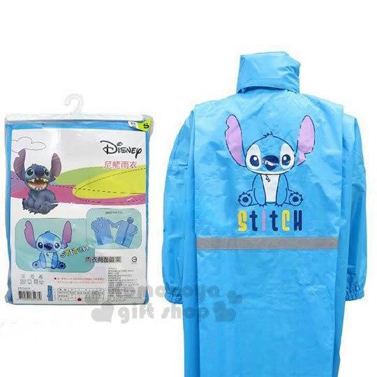 〔小禮堂〕迪士尼 史迪奇 兒童前開式尼龍雨衣《M.藍.坐姿》雨具 7021654-38002