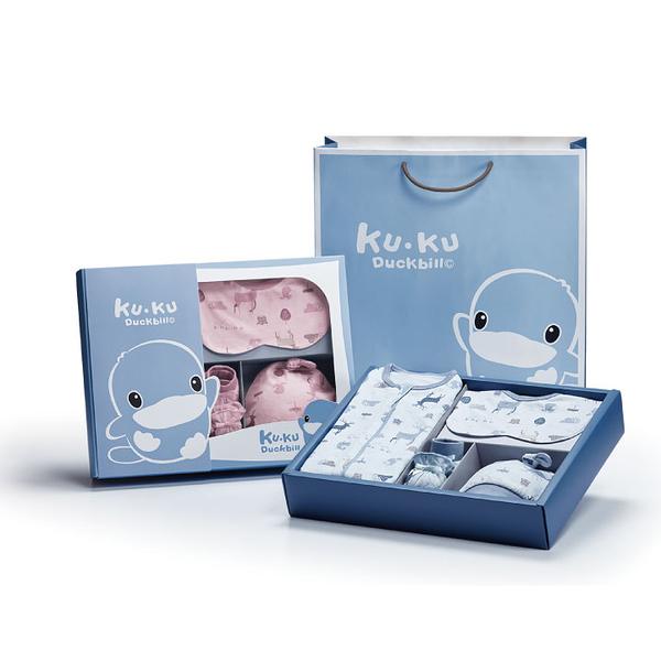 KUKU酷咕鴨北歐迷境森林包巾禮盒-7件組(粉/藍)【六甲媽咪】