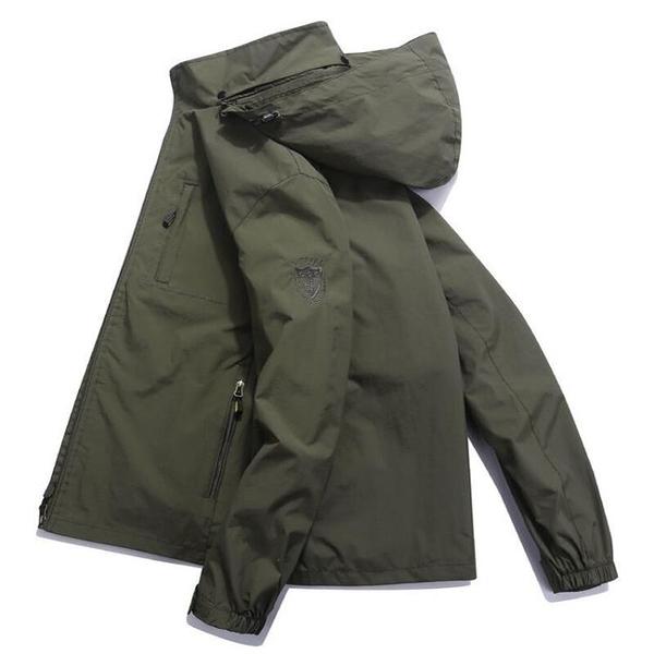 衝鋒衣 吉普盾春秋夾克男薄款大碼寬鬆戶外防水休閒茄克沖鋒衣男上衣外套
