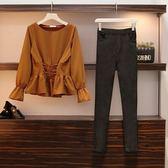 中大尺碼 棉花糖女生L-4XL大碼女裝初秋新款時尚兩件套顯瘦遮肚洋氣減齡套裝4F079.5119韓依紡