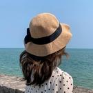 蝴蝶結草帽女沙灘出游度假韓版潮遮陽防曬帽夏季海邊可摺疊太陽帽 滿天星