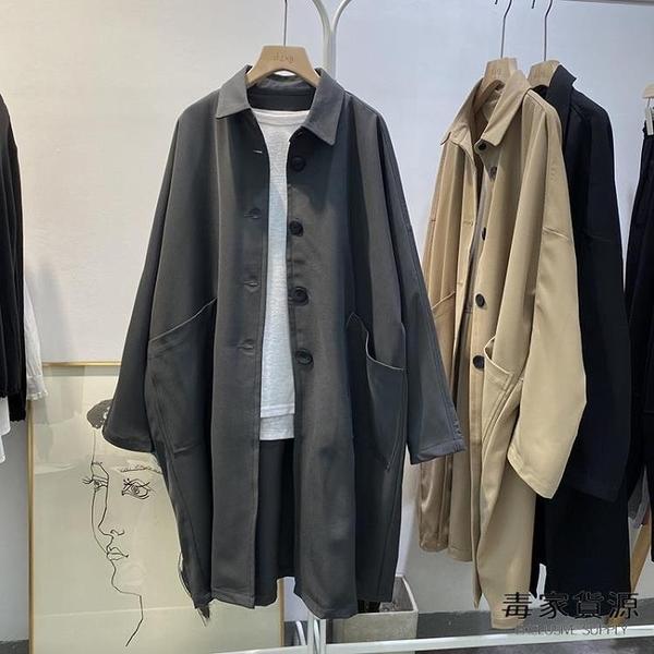 工裝外套女韓版寬鬆休閒風衣氣質中長款大衣秋裝上衣【毒家貨源】
