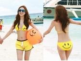 韓版 超可愛 笑臉 黃色比基尼 泳衣/泳裝