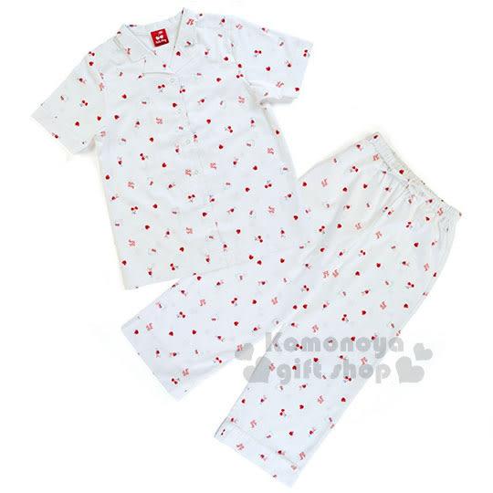 〔小禮堂〕Hello Kitty 短袖居家服套裝《白.大臉.櫻桃.滿版》襯衫式.睡衣.甜蜜夢境系列 4901610-03780