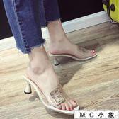 透明高跟鞋 韓版外穿百搭透明一字個性高跟鞋