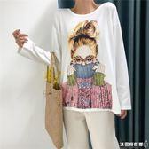 寬松長袖t恤 百搭韓版打底衫新款女學生外穿上衣服