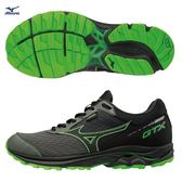 Mizuno  WAVE RIDER 22 GTX 男鞋 慢跑 路跑 防水 耐磨 緩震 黑 螢光綠【運動世界】 J1GC187905