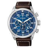 CITIZEN 光動能時尚計時三眼腕錶-咖啡X藍-CA4210-41L