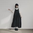 Queen Shop【01085178】質感美細肩帶抽繩蛋糕裙洋裝 四色售*現+預*