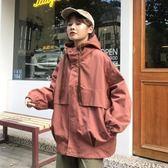 風衣外套 春冬新款工裝外套女韓版寬鬆連帽短款  萬客居