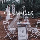 影樓婚紗拍照攝影道具高腳杯外景旅拍鑲鉆香檳酒瓶白色折疊鐵桌椅
