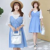 中大尺碼~收腰甜美鬆緊假兩件短袖洋裝(XL~4XL)