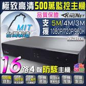監視器 防駭客主機 16路4聲 500萬監控主機 5MP顯示 16路主機 系統穩定 台灣製造 台灣安防