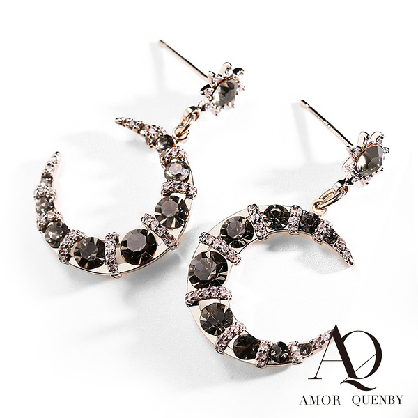 AQ 925純銀 月牙彎彎帶鑽質感耳環/耳針(AMOR Quenby)