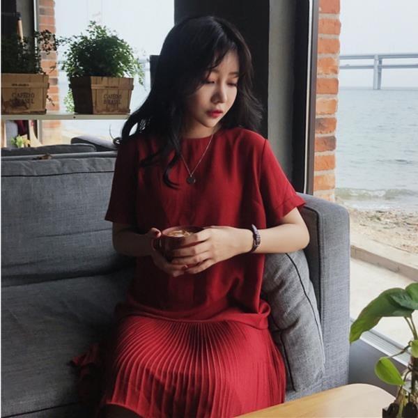 [超豐國際]夏季寬松氣質百褶純色短袖中長裙百搭顯瘦圓領連衣裙1入