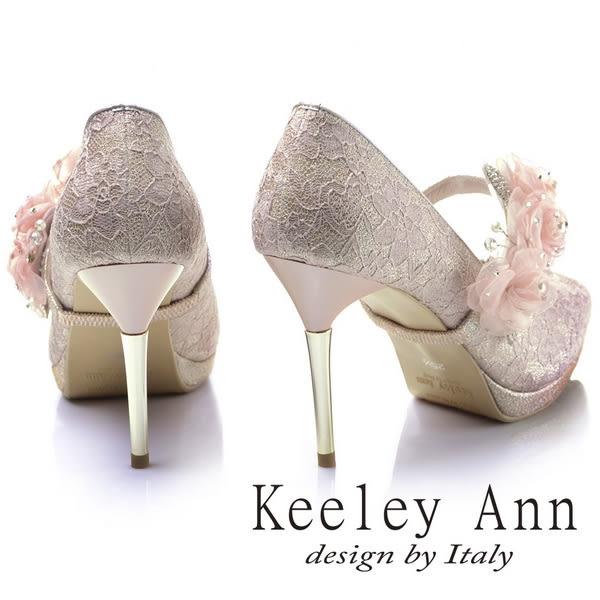 ★2017秋冬★Keeley Ann甜蜜蕾絲~珍珠水鑽玫瑰可拆式腳背帶新娘高跟鞋(粉紅色)