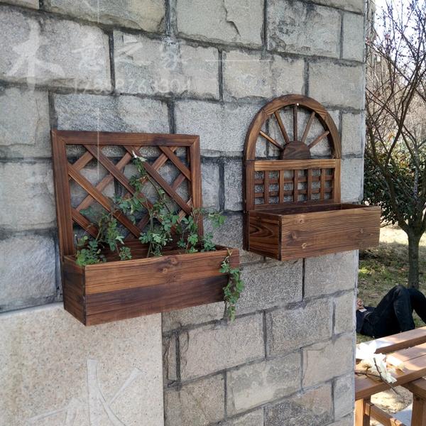 墻上掛件花幾碳化實木壁掛花盆 防腐木質 掛壁花架 墻壁裝飾花籃