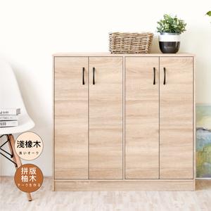 【Hopma】多功能四門鞋櫃/收納櫃-淺橡木