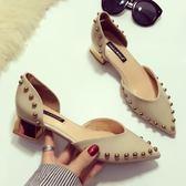 低跟鞋 歐美漆皮尖頭低跟鞋電鍍粗跟包頭中空單鞋珍珠鉚釘氣質方跟鞋 巴黎春天