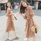 新款法式桔梗收腰裙子五分袖顯瘦氣質中長款雪紡襯衫洋裝女