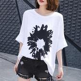 休閑夏季純棉大碼衫中長款短袖印花t恤女裝韓國竹節棉寬鬆上衣潮『潮流世家』
